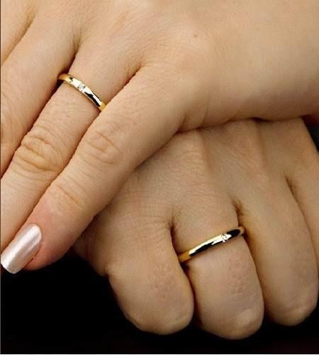 Alianças De Ouro 18k Almas Gêmeas Casamento Brilhante Al08vj