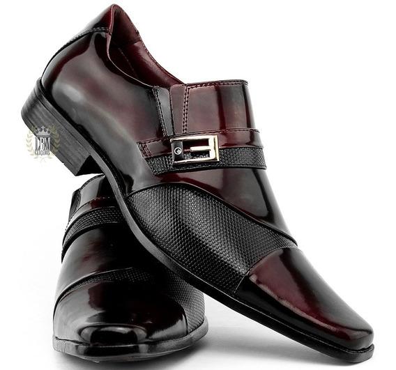 Sapato Preto Vinho Social Masculino Verniz 100% Couro Verniz