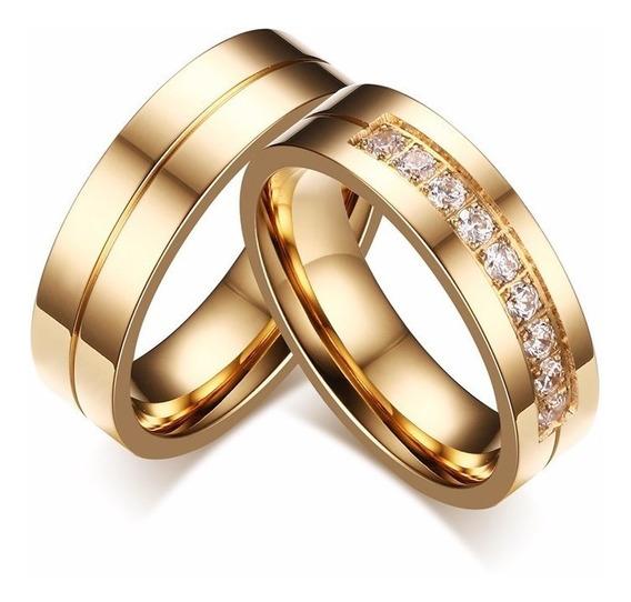 Par Anéis Alianças Titânio Banhado A Ouro Zircônia
