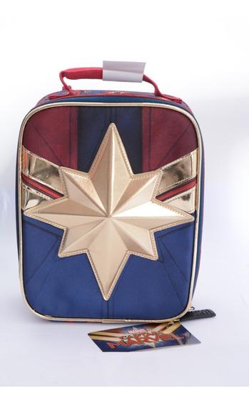 Lancheira Térmica Capitã Marvel Oficial C/ Alça E Escudo 3d