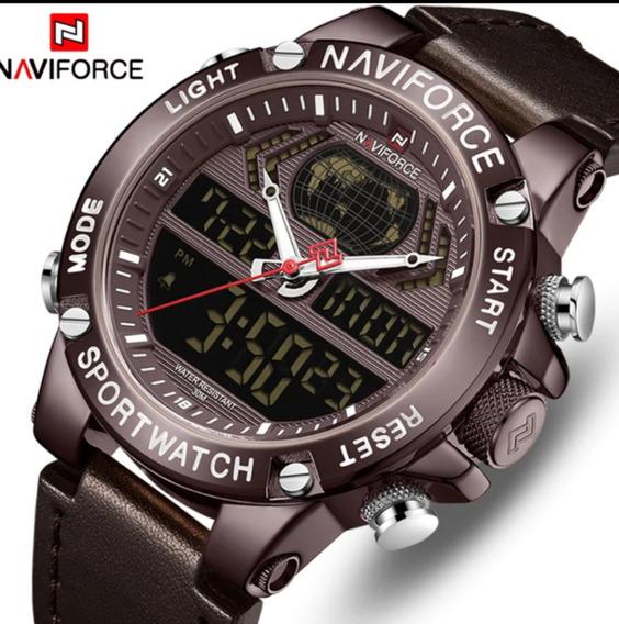 Relógio Naviforce Novo Original Em Couro Nf9164
