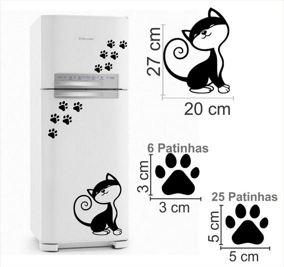 Adesivo Gato Decorativo Geladeira + 25 Patinhas Preto