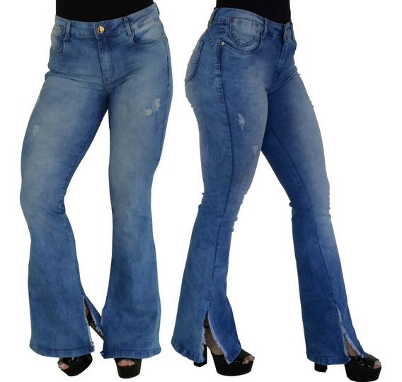 Calça Flare Feminina Strech Jeans Barra Boca De Sino Brinde