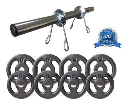 Imagem 1 de 2 de Kit 20kg Com Barra E Anilhas P/ Musculação Halter + Brinde