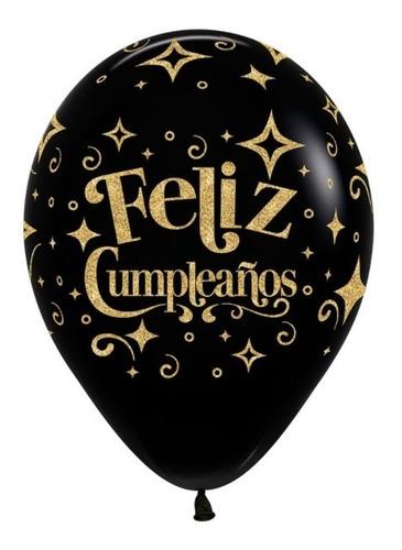 Globo R-12 Feliz Cumpleaños Escarchado Inf X 50 - Sempertex
