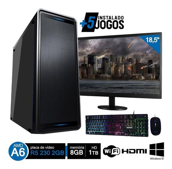 Pc Gamer Completo Amd A6 7480 8gb Hd 1tb R5 230 C/ Monitor Wifi Hdmi Win10