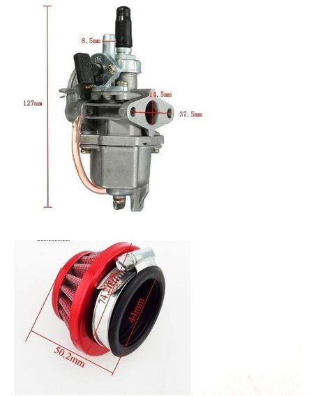 Carburado + Filtro Ar Motores 49cc 47cc Mini Moto/ Quadricic