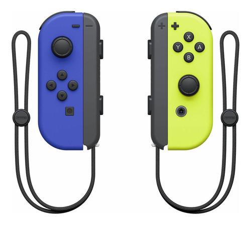 Imagen 1 de 2 de Set de control joystick inalámbrico Nintendo Switch Joy-Con (L)/(R) azul y amarillo-neón