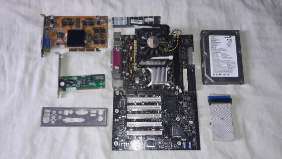 Kit Placa Mãe Intel D845pebt2 + Acessórios (leia).
