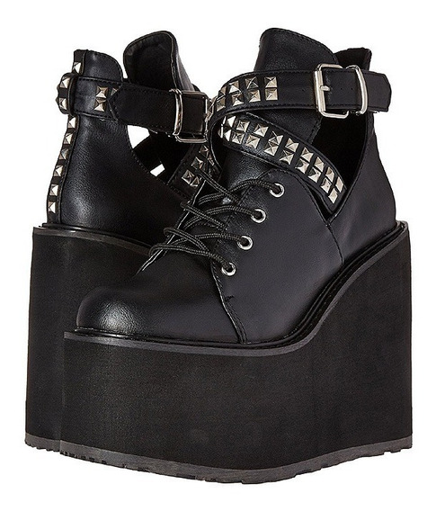 Zapatos Negros Plataforma Demonia Swing-05 Goticos Killstar
