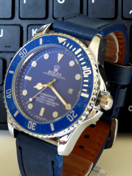 Relógio Couro Azul Prata Masculino Original P. Entrega C238