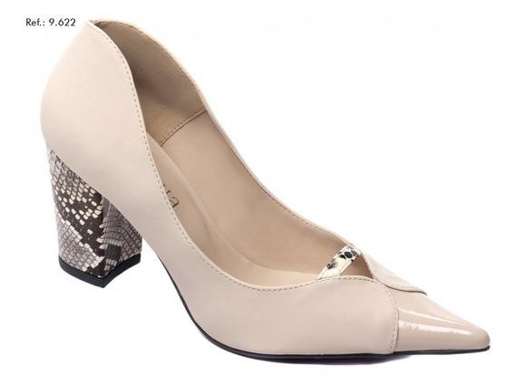 Sapato Feminino Scarpin Torricella Bege Com Salto Cobra