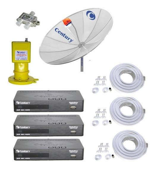 Parabólica 1,9 Digital Century+4 Rec D Midia Box B3 Hd+multi