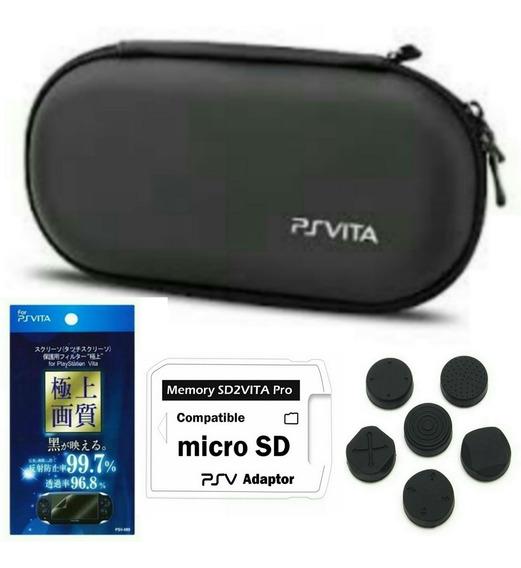 Capa Case Ps Vita + Pelicula + Adaptador Sd2 + Grips
