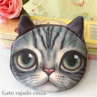 Bolsinha De Pelúcia Carteira Bolsa Com Zíper 3d Gato Ou Cão