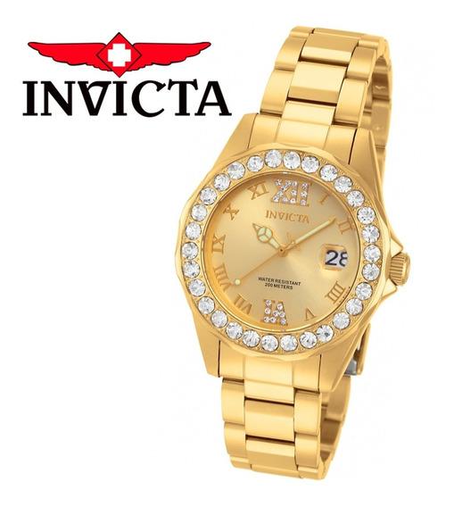 Relógio Invicta Feminino Pro Diver 15252 Banhado Ouro 18k Dourado Original Nota Fiscal Garantia Frete Grátis Promoção