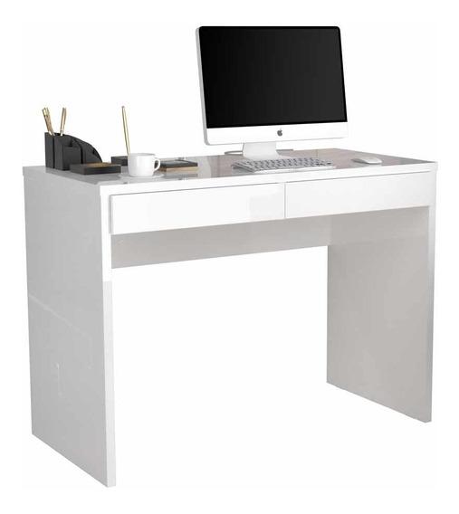 Escrivaninha Branca 2 Gavetas 110 Cm Para Escritório Pequena