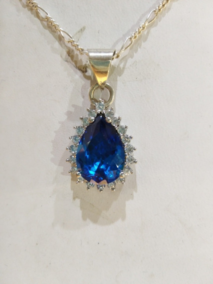 Dije De Topacio Azul, London Blue En Plata 925
