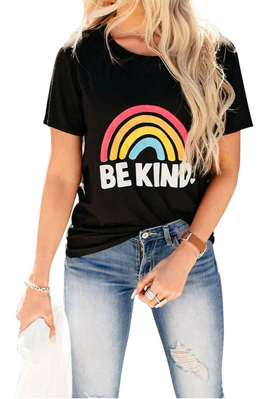Camiseta Feminina De Manga Curta Be Kind Rainbow