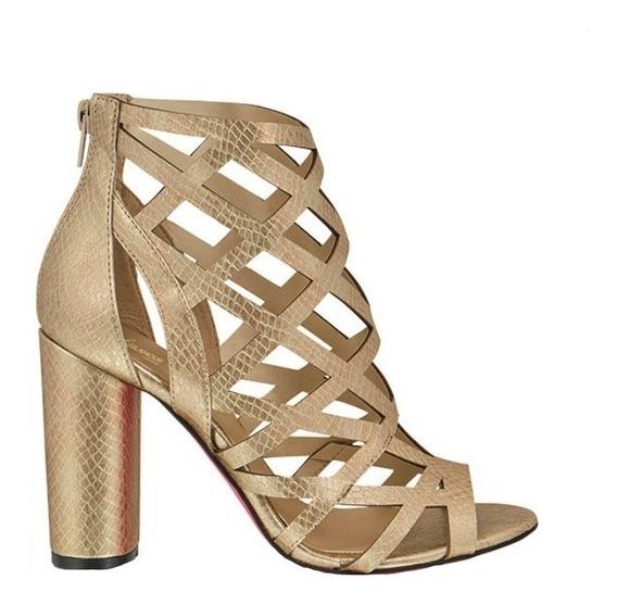Zapatilla Zapato Dama Mujer Moda Oro Tipo Piel Tacon 10 Cm