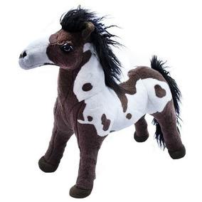 Cavalo Realista Marrom Branco Em Pé 48cm - Pelúcia