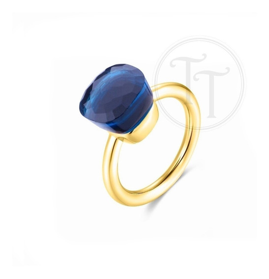 Anillo Nudo Topazio Azul Natural Plata Esterlina 925 Gold
