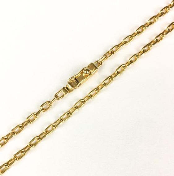 Corrente Masculina Ouro 18k Elo Cadeado Cartier 20g 70cm Maciça + Porta Joias 0064