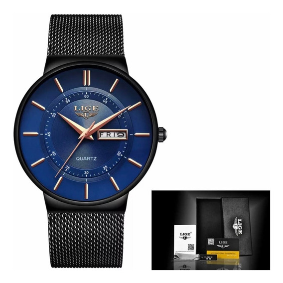Relógio Masculino Lige Slim Casual 100% Original Top Luxo