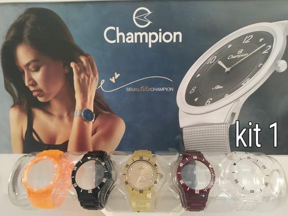 Kit Relógio Troca Pulseira Champion