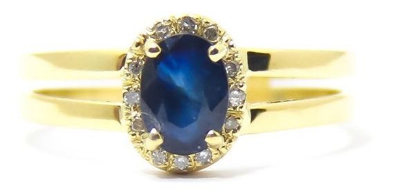 Anel Com Linda Pedra Safira Azul Natural
