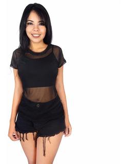 Kit 3 Blusas Camisas Feminina Tule Sexy Transparente Sensual