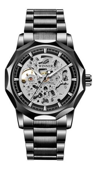 Relógio Automático Winner / Mecânico Aço Inoxidável