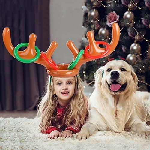 para Ni/ñOs De La Familia QYHSS Juego Inflable Navide/ño De 2 Paquetes Lanzamiento De Anillo De Reno Inflable De 8 Anillos Juegos De Fiesta De Navidad 2 Cuernos Inflables