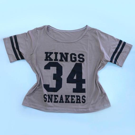 Cropped Blusa Kings Sneakers Camisa Feminino Blogueira 095