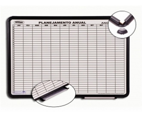 Lousa Magnetica Planejamento Anual Branco Aluminio 120x90