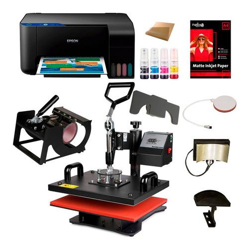 Maquina Estampar Sublimar 6 En 1 38x38 + Impresora Epson A4  Para Sublimar Estampar Remeras Tazas Gorras Envío Gratis