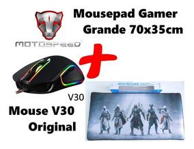 Mouse Gamer V30 + Mousepad Gamer Grande Diversas Estampas