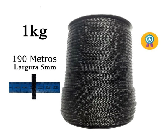 Artesanato Cordão Laço Fio 190 Metros 5mm Preto Promoção