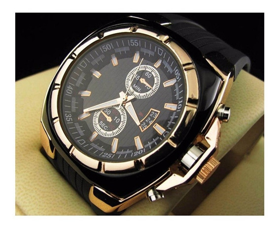 Relógio De Pulso Masculino Aço Inoxidável Dourado Quadrado
