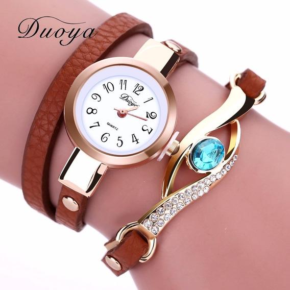 Relógio De Pulso Feminino Vintage De Couro Bracelete Pedra