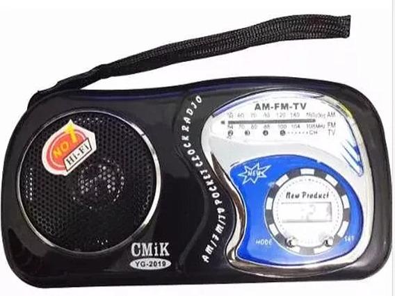 Mini Rádio Som De Bolso Am Fm Tv Yg2019 Cor Preto