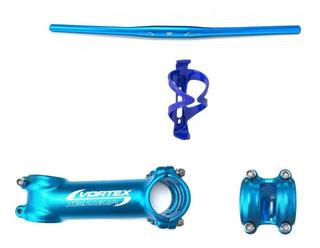 Kit Mesa 90mm E Guidão Vortex 720mm Azul + Brinde