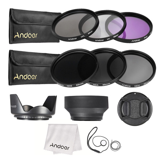 Andoer 55 Milímetros Lens Kit Filtro Uv + Cpl + Fld + Nd