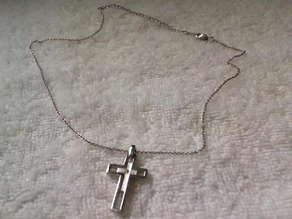 Corrente Em Prata 925 E Pingente Com Pequeno Diamante