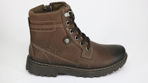 Bota Pegada Trekking Boots Pull Up Couro Zíper Brown - 32 -