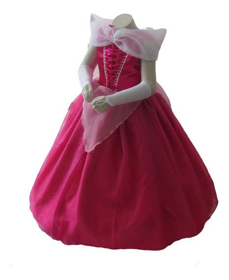 Vestido Princesa Bela Adormecida Aurora Luxo + Luva + Tiara