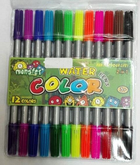Set X 12 Colores Fibra Marcador Doble Punta Resaltador