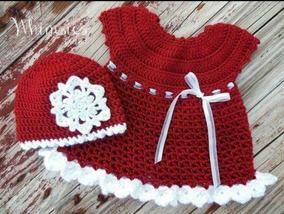 Kit Vestidinho E Gorro Natal Mamae Noel Em Croche Rn A 1 Ano