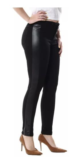 Calça Jeans Sawary Faixa Lateral Couro Feminina Preta