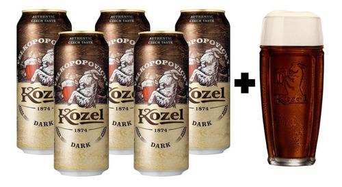 5 Pack De Cervezas Checas Kozel Dark 500 Ml + Vaso